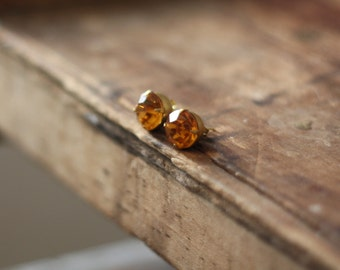 Vintage Yellow Rhinestone 9mm Post Earrings