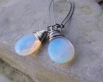 Aurora Borealis | Wire-wrapped | Opalite | Teardrop Briolette | Long Gunmetal Earwires | Wedding | Etsy Earrings Under 20 | Jewelry Under 20