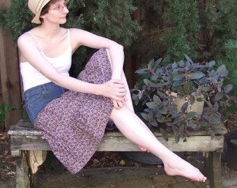 Margot upcycled denim and calico skirt, size small