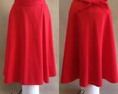 1970s Vintage Red Full Wrap Swing Skirt