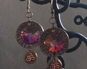 Crystal Rivoli and Ohm Earrings in copper