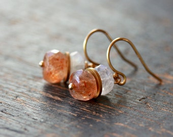 Oregon Sunstone Earrings, Gemstone Stack Earrings, White Moonstone, Unique Earrings, 14k Gold Filled Earrings, Colorful Gemstones