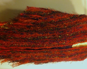 Hand Knit Designer Shawl in Eyelash Ribbon and Mohair Cherry Red