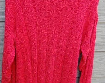 Vintage 80s Sundays Red Patterned Oversize Baggy Sweater Mens Size Medium