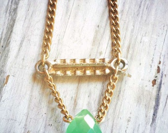 modern geometric green faceted glass grop on golden charm and chain. original vintage assemblage by val b.