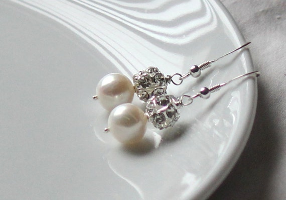 Freshwater Pearl and Rhinestone Earrings - Bridal Earrings - Wedding Jewelry