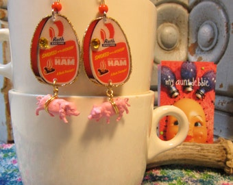 Canned Ham Earrings  Easter Dinner Pink Pigs ham and cheese