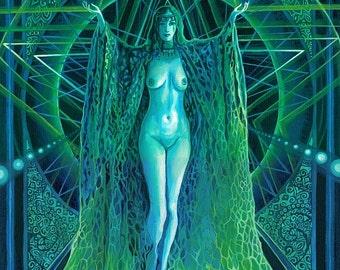 The Invocation of The Goddess Lilith 11x14 Fine Art Print Pagan Mythology Gypsy Witch Goddess Art