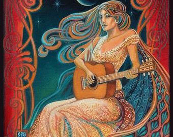 Gypsy Moon 11x14 Fine Art Print Pagan Mythology Art Nouveau Gypsy Music Bohemian Goddess Art
