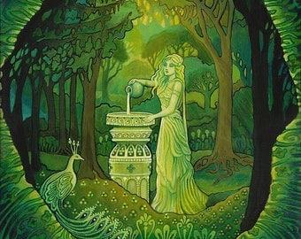 Mirror Gazing 11x14 Fine Art Print Pagan Mythology Art Nouveau Pagan Forest Emerald Psychedelic Gypsy Goddess Art