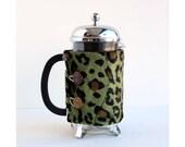 The Original French Press Coffee Cozy - Warm and Fuzzy Leopard Style -