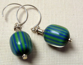 Lucite blue & green striped earrings, wife birthday gift, wife gift, vintage lucite and silver, earrings for women, gifts for women mom gift