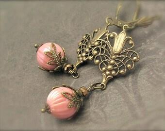 Art Deco Earrings, Chandelier Earrings, Art Nouveau Earrings, Vintage Rose Lucite Beads, Bridesmaid Wedding, Victorian Abbey, Long Earrings