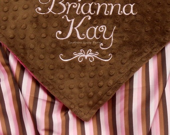 Embroidered Baby Blanket , Brown and Pink Satin with Minky Dot - Personalized Baby Girl Blanket - 30x36