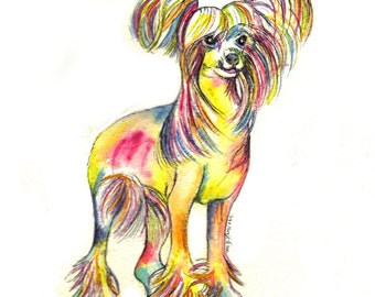 Chinese Crested Dog Art Original Watercolor Painting Silhouette Home Decor dog lovers art gift rainbow colors