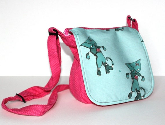Zombie cat bag - SALE - last one - pink shoulder bag with adjustable strap and pink stripy lining - lolita goth messenger