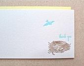 Letterpress stationery, set of 6, letterpress cards, bird stationery, nest cards, thank you notes
