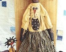 Primitive Black Doll Pattern Paperclay Paper Clay Paper Mache Cat Applique  EPattern  PDF Folkart Folk Art  by  Hickety Pickety AS4