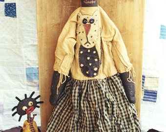 Primitive  Doll Pattern Paperclay Paper Clay Paper Mache Cat Applique  EPattern  PDF Folkart Folk Art  by  Hickety Pickety AS4