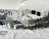 Black & White Freeform Peyote Cuff Bracelet