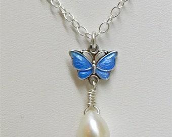 Volmer Bahner. Enamel Butterfly pendant necklace. Rare teardrop pearl. Denmark Sterling.