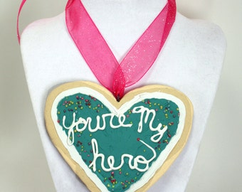 Made To Order -- Cosplay Sized -- You're My Hero Cookie Pendant --