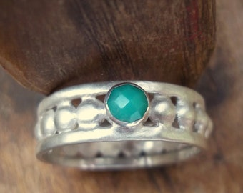 Renaissance faire ... Rose Cut Green Chrysoprase, Sterling and Fine Silver Ring...