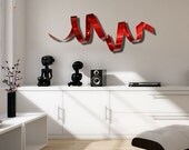 Red Twist Wall Sculpture, Indoor Outdoor Metal Wall art, Red Abstract Metal Wall Decor - Cardinal Twist by Jon Allen