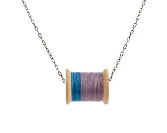 Blue and Plum Thread Spool Necklace