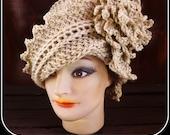 Crochet Pattern, Womens Crochet Hat Pattern, Womens Hat, Crochet Cloche Hat Pattern with Flower, Crochet Flower, LAUREN