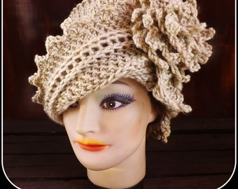 Hat Crochet Pattern Hat,  Crochet Hat Pattern,  Womens Hat,  Crochet Flower Pattern Crochet,  Lauren Hat,  1920s Cloche Hat Pattern