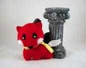Red Fox Kitsune in a Yellow Scarf Keychain Charm Plush ornament