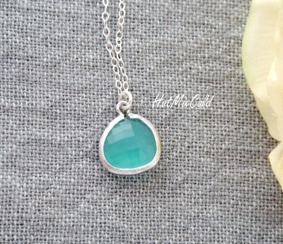 Custom Opal Blue Glass Drop Necklace / Bezel Glass Drop Silver or Gold Necklace / Simple Bridesmaid Gift, Mothers Necklace