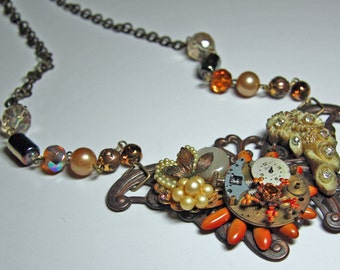 Steampunk Necklace - Butterfly - Repurposed - OOAK Necklace. Statement Necklace