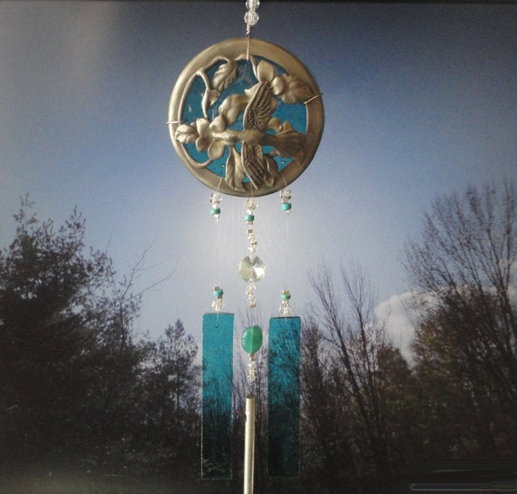 SALE, Blue Skies, Garden Sculpture, Home Decor, Glass Windchime, Upcycled Pewter Filigree, Stained Glass and Crystal