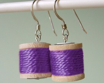 Earrings - Spools of Thread in Light Purple
