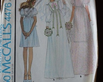 Vintage 70s McCalls 4476 Misses and Junior Bride and Bridesmaid Dress Pattern with Transfer for Embroidery size 10 B 32.5