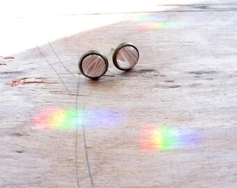 petite Wood Grain earring studs silver or bronze