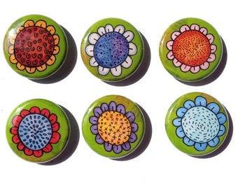 Whimsical Flower Magnets or Pins - 1 inch flower pinback buttons or magnets, set of 6, floral fridge magnets