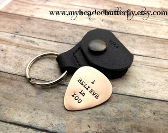 personalized-guitar pick-guitar pick case-handstamped-guitar pick with case