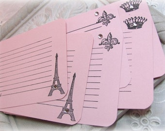 Paris Recipe Card Set.Eiffel Tower.Light Pink Handmade Recipe Cards.Set of 24.Optional Rhinestone Finish.wedding.bridal shower.Paris Party