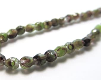 Tiny Faceted Olive Green and Purple Firepolished Round Glass Beads - 100 pieces
