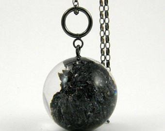 Black Mineral Necklace, Large Carborundum Resin Necklace with Long Oxidized Sterling Silver Chain, Mineral Jewelry