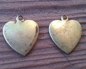 Vintage Brass Heart Charm. New Old Stock. Two.
