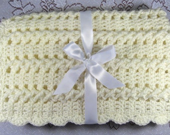 PDF Pattern Crocheted Baby Afghan, CAR SEAT Size and Newborn Size Blanket -- Vanilla Twist
