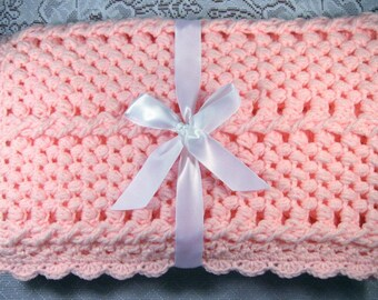 PDF Pattern Crocheted Baby Afghan, CAR SEAT Size and Newborn Size Blanket -- Strawberry Twist