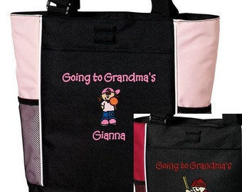 Personalized Going to Grandma's Nana's Mimi's MaMa's Tote Bag Girl or Boy Embroidered