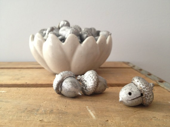Silver Painted Acorn Bowl Filler - Shabby Decor Antiqued Silver