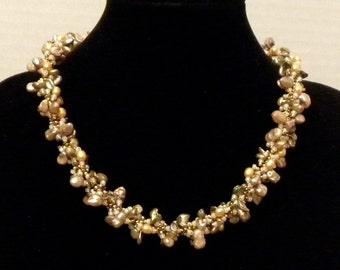 Baroque Fresh Water Pearl Caitlin Necklace in Bronze and Copper Tones