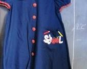 Vintage School Girl Dress - 5T, Navy Blue, Red Green Plaid, Peter Pan Collar, Apples, Pencils